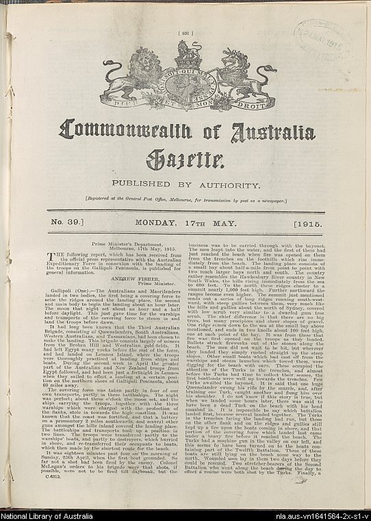 "A report ""in connexion with the landing of troops on the Gallipoli Penninsula"""