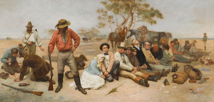 William Strutt's painting 'Bushrangers, Victoria, Australia 1852'