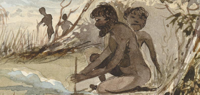 Watercolour of a man starting a fire with the shaft of a grass tree