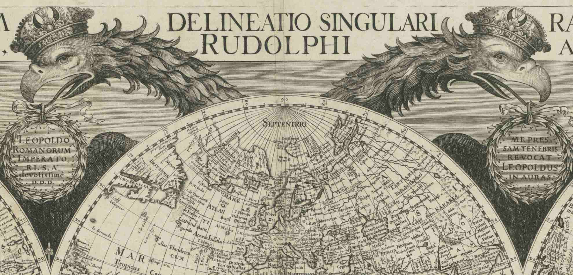 1659 world map on central hemisphere and two adjoining half spheres embraced by a double-headed eagle, by Philip Eckebrecht