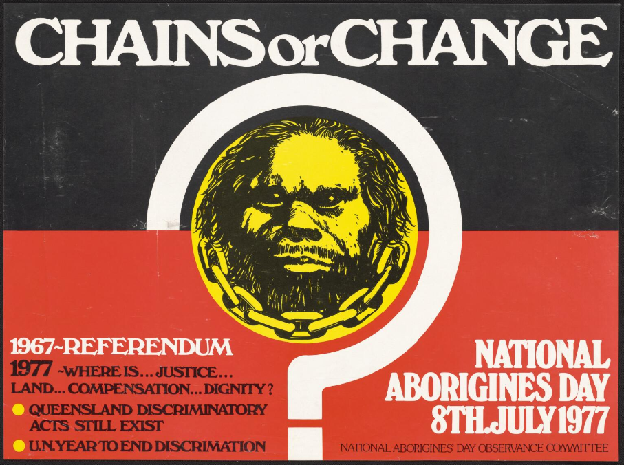 Chains or change [picture] : National Aborigines Day 8th July 1977 / issued by the National Aborigines' Day Observance Committee