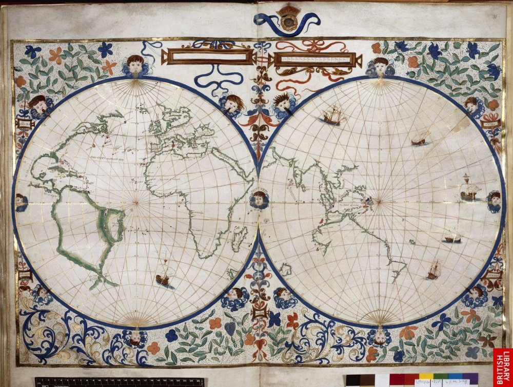 Atlas open to an early double hemisphere map of the world, lavishly illustrated and coloured, showing parts of Europe, Asia and Africa.