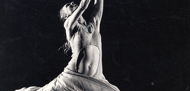 Black and white photo of a dancer