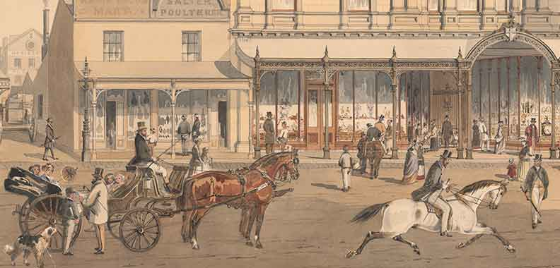 Watercolour of people and horses outside the Royal arcade in Melbourne
