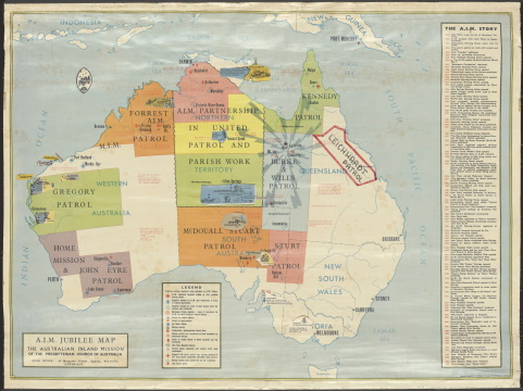 Map of Australia showing areas patrolled by Australian Inland Mission (A.I.M.)