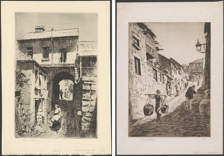 Pencil drawings of old Sydney streets in The Rocks area from the 1920s and 1930s