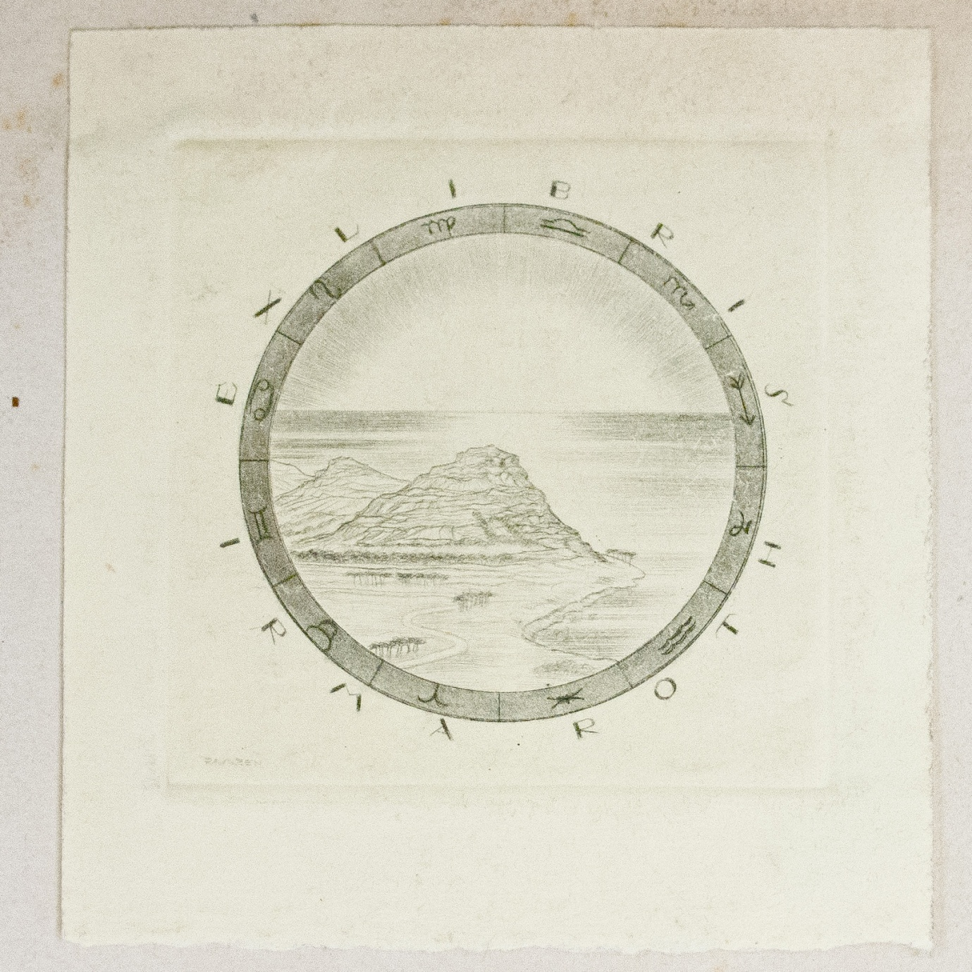 Irma Roth bookplate depicting a pyramid-like hill, surrounded by a circular band of symbols