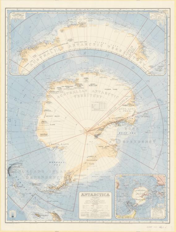 Map of Antarctica showing territories and dependencies.