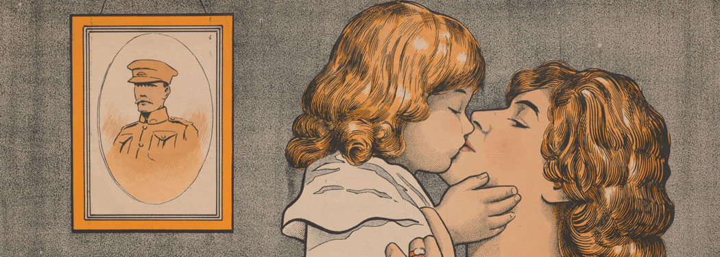 Drawing of mother and child kissing
