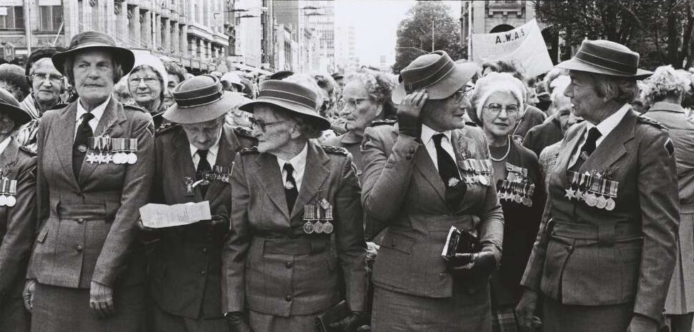 Photo of women marching for ANZAC day in Melbourne, 1986.
