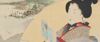 Japanese portrait of a women reading