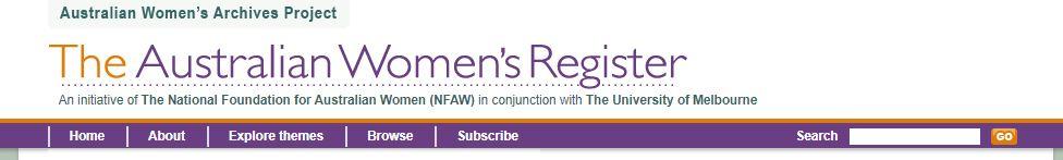 screen shot of the Australian Women's Register