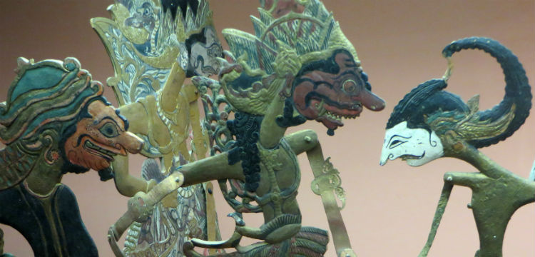 4 Balinese shadow puppets