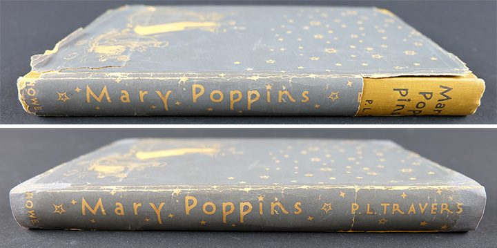 Before and after treatment of the dust jacket for Mary Poppins on the bound volume