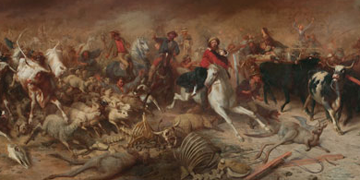 painting of people and animals fleeing
