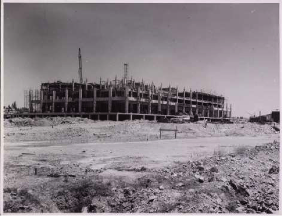 The building in progress, early 1966