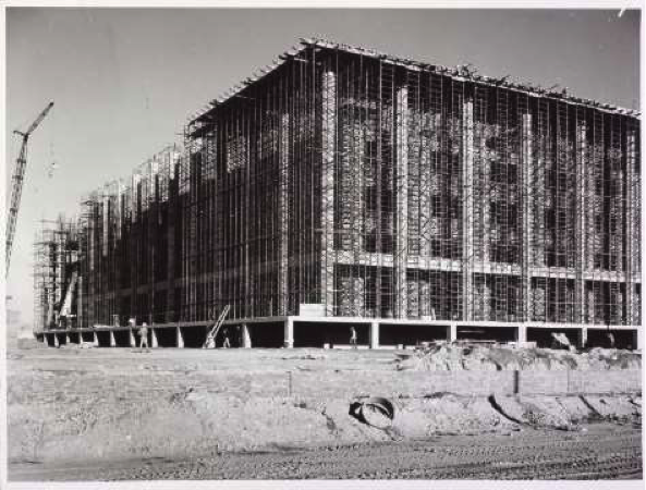 The steel shell of the building, five storeys above ground, June 1966