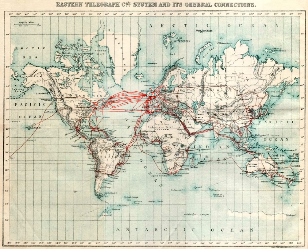 World map showing eastern Telegraph Company cables, 1901