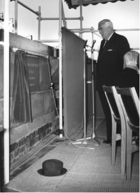Sir Robert Menzies laying the National Library Foundation Stone, March 31 1966