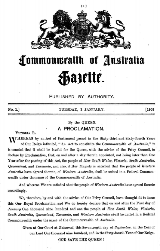 First issue of Commonwealth Government Gazette, 1 January 1901