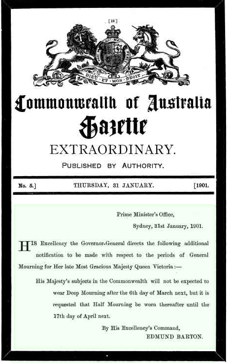 Commonwealth of Australia Gazette, 31 January 1901, page 13