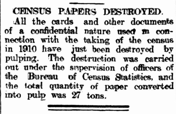 Census papers destroyed