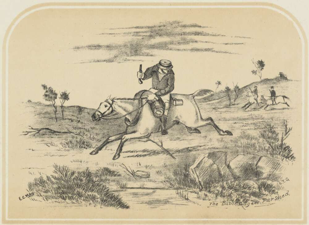 19th century etching of a bushranger escaping police on horseback