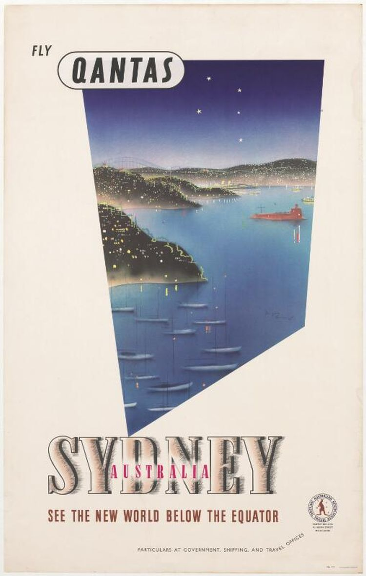 QANTAS advertising poster depicting an aerial view of Sydney Harbour