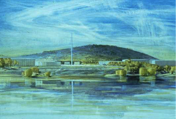 Perspective from proposed lakeside Parliament House.