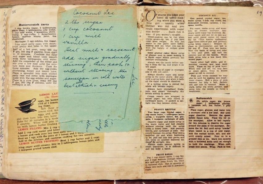 Open book with handwritten recipes