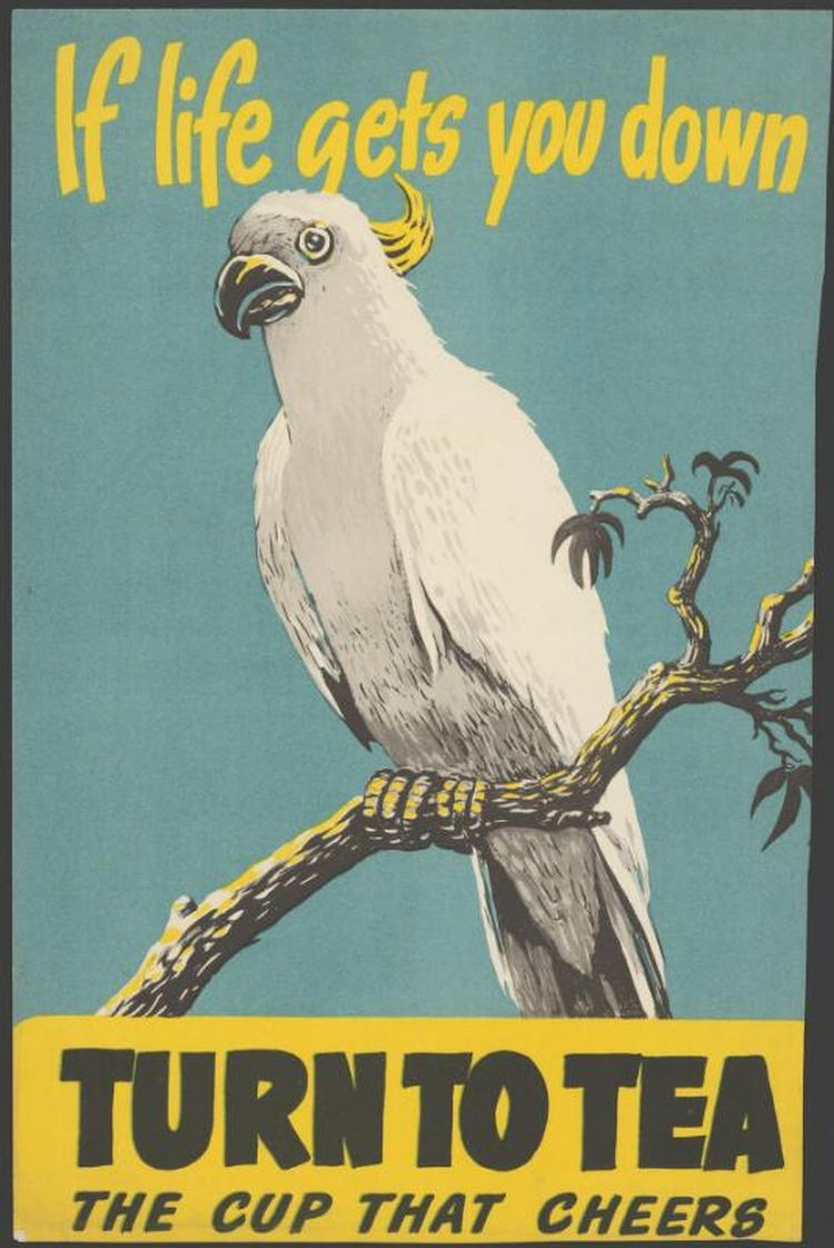 Poster advertising tea as an aid to well-being, cockatoo pictured