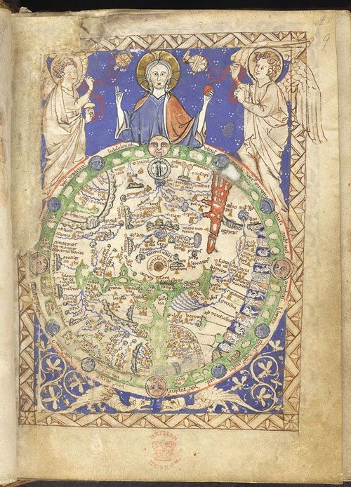 of medieval map, with saint and angels sitting atop the globe