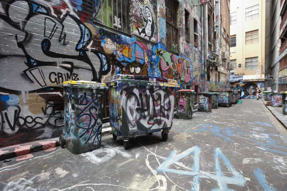 Photograph of Melborune street with graffiti