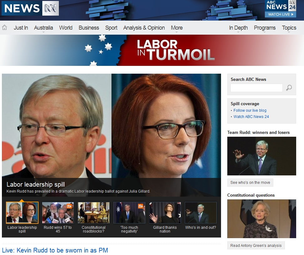ABC website featuring images of Rudd and Gillard