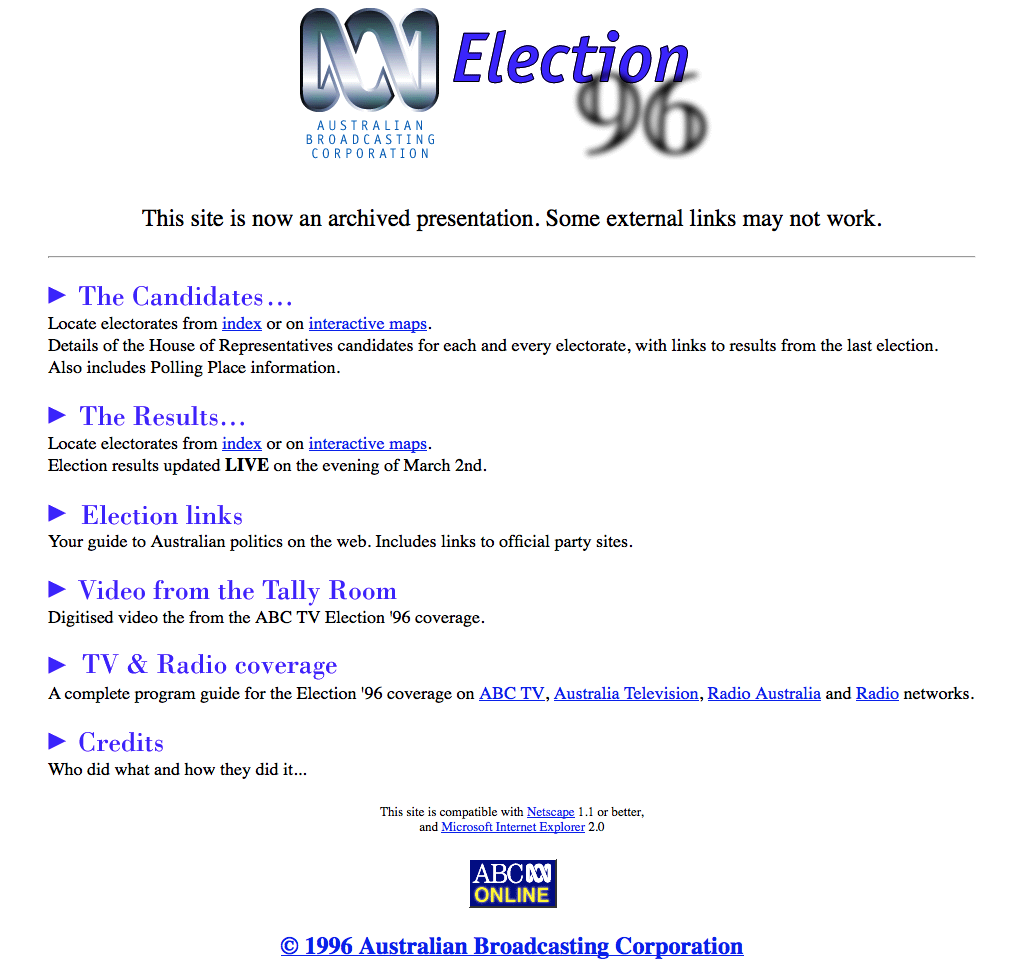 ABC election 96 homepage