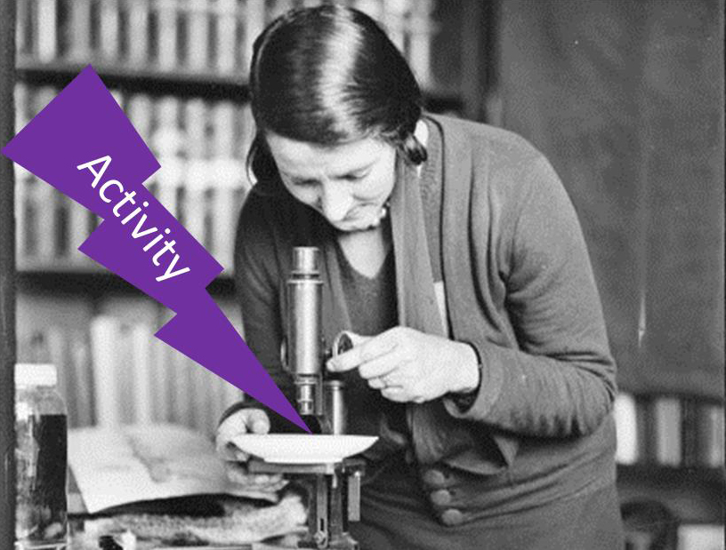 Slide from training titled 'Activity' showing old photograph from the Library's collection of a woman looking through a microscope