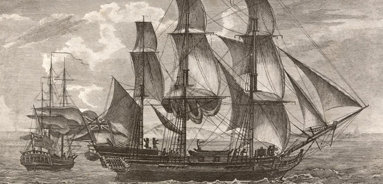 Engraving showing the ships, Resolution and Adventure