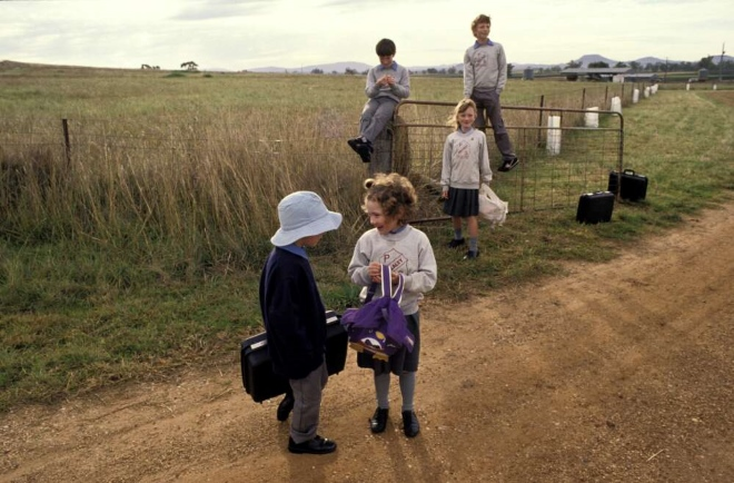 The Martin children waiting for the school bus, Tarlee, Mullaley, New South Wales, 1990