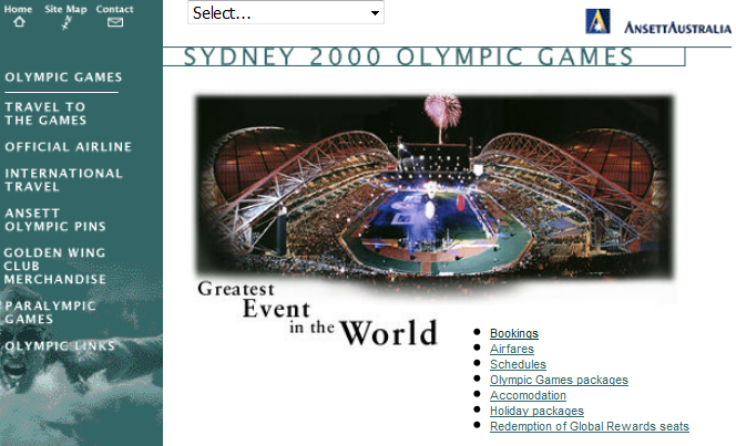 Ansett was the official airline of the Sydney Olympics