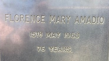 "Austral grave incription - ""Florence Mary Amadio, 15 May 1968, 76 years"""