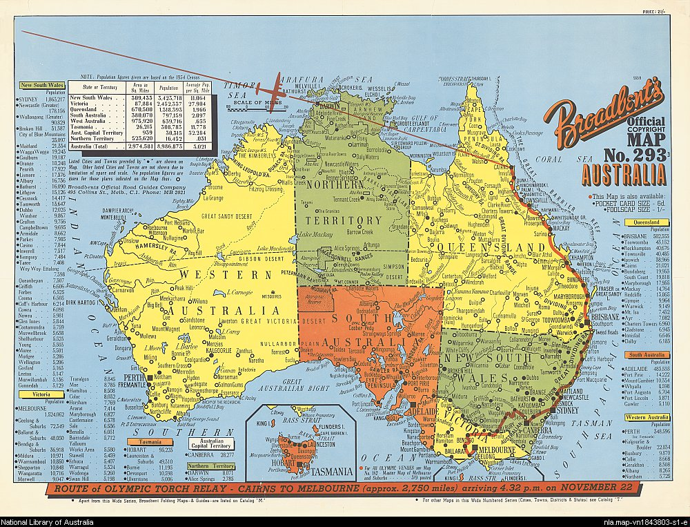 Map of Australia from 1956