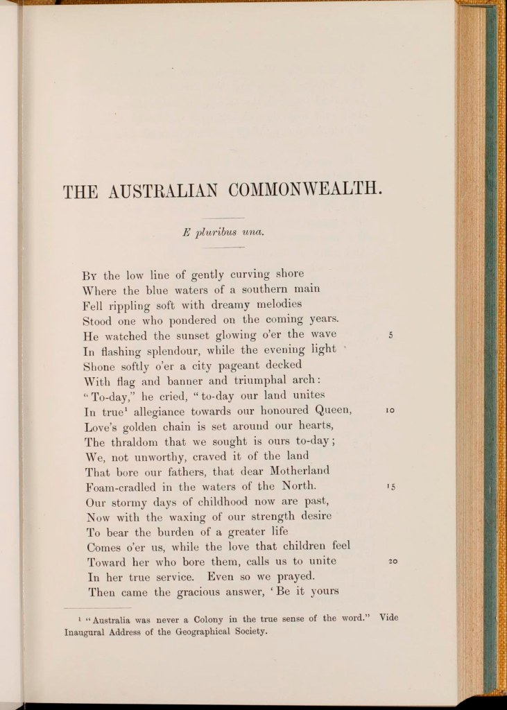 Page 1 of the poem Australian Commonwealth