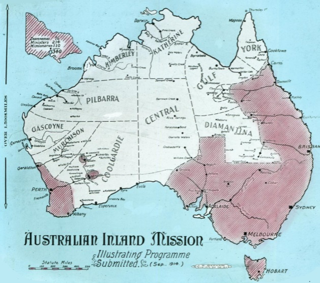Australian Inland Mission, [map of Australia] illustrating programme submitted Sep. 1914