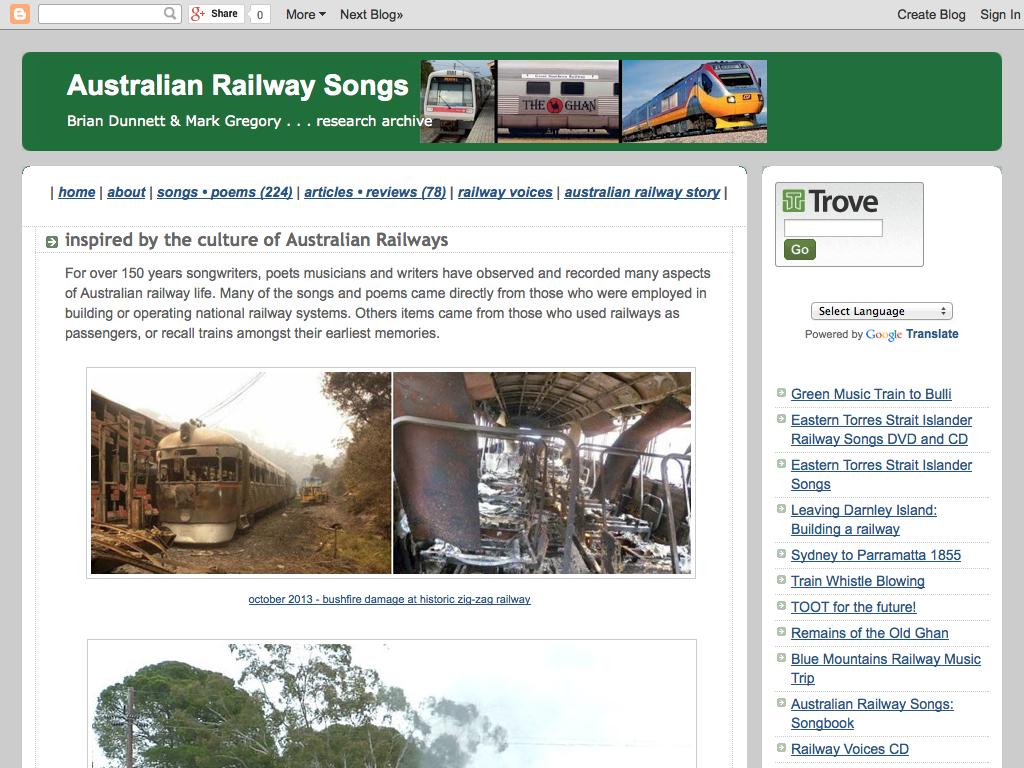 Australian railway songs website
