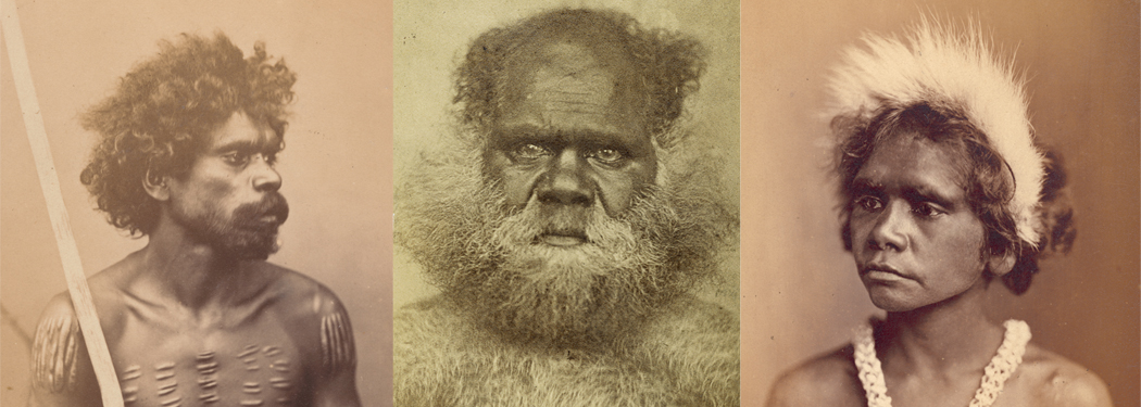 Portrait of three Indigenous Australians