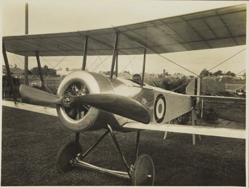 Basil Watson in completed biplane