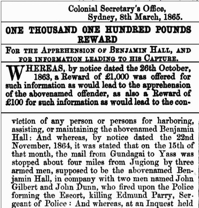 Government Gazette Ben Hall reward notice