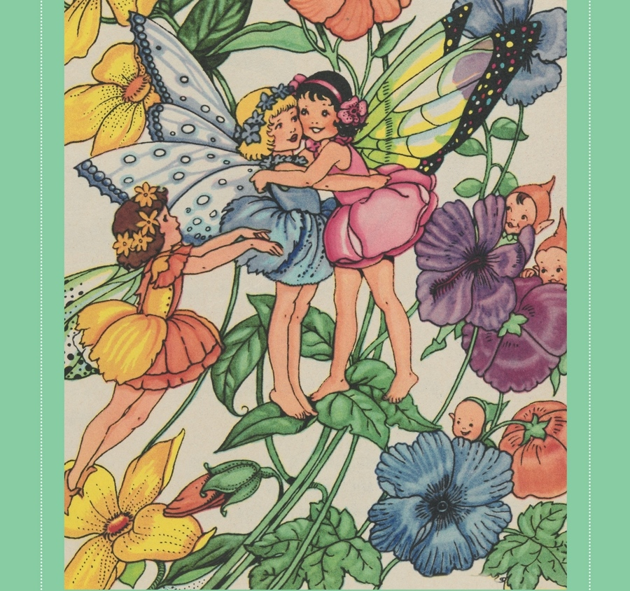 Pixie O'Harris illustration of two fairies