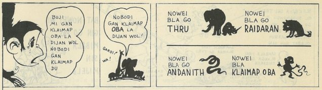 Three panels showing jungle animals speaking in Australian Kriol translation.