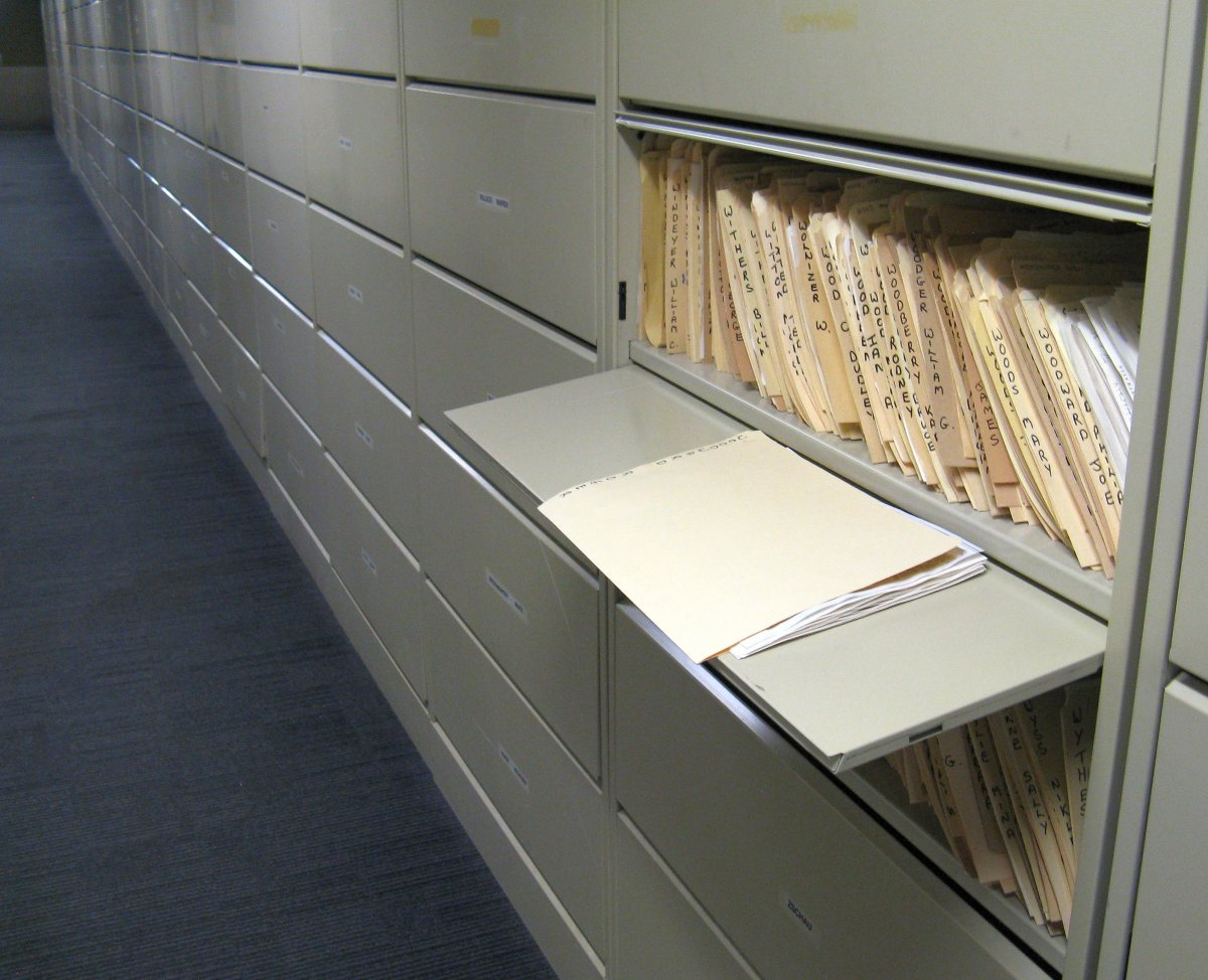 Cabinets containing biographical cuttings files